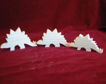 Stegosaurus (Plated Reptile or Spike Back) Dino Family of Unfinished Pine Cutouts