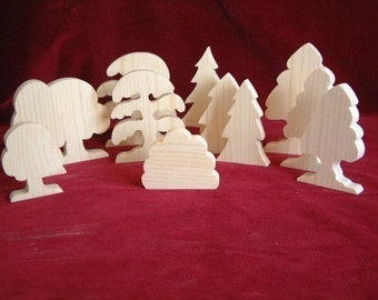 Forest Trees, Set of 12 Unfinished Pine Cutouts