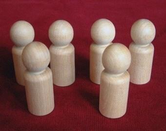 Peg Dolls, 6 No. 5 Large Boy or Man, Unfinished Hardwood