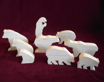 Bears, Unfinished Pine Cutouts, 9 Assorted Bears