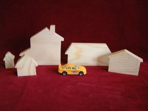 Housing Set Assortment, Unfinished Pine Cutouts