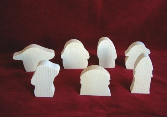 Toad Abode Assortment of 7 Houses or Mushrooms,  Unfinished Pine Cutouts