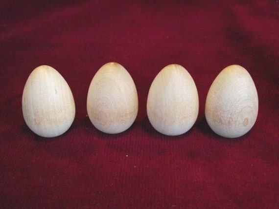 4 Wooden Robin Eggs 1- 3/4 inch with flat bottom, unfinished