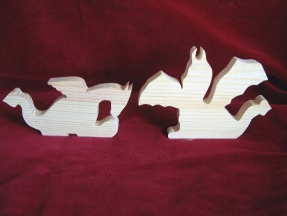 Set of Two Dragons, Unfinished Pine Cutouts