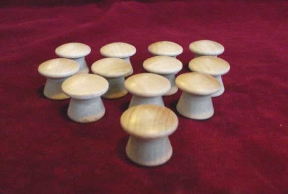 12  No. 37 Tall Drawer Pull,  Hardwood, Unfinished (Mushroom/Toadstool)