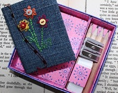 Flower embroidered denim mini journal in presentation box with pencils, sharpener and eraser