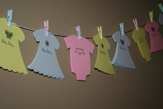 Items similar to Baby Girl Shower Wish Advice Clothes Line