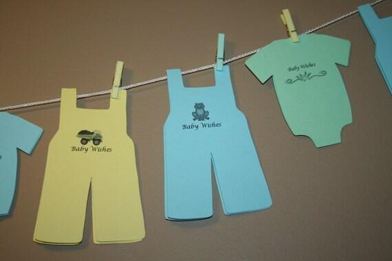 Baby shower wish advice clothesline favor decoration boy for Baby shower clothesline decoration