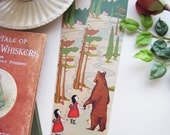 Girl and Bear Bookmark, Art Bookmark, Fairytale Bookmark, Cute bear Bookmark, Woodland forest bookmark, whimsical bookmark