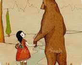 Bear Print Girl and Bear holding hands friendship whimsy fairytale storybook illustration