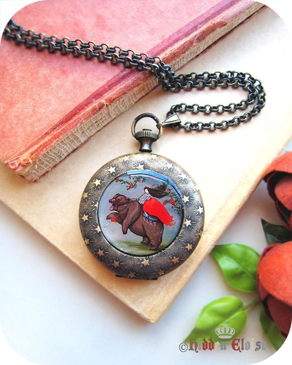 Warrior Woman Riding Bear Pendant, pocket watch locket, girl in armor, strong woman art jewelry, medieval accessory, we are all her prey P0