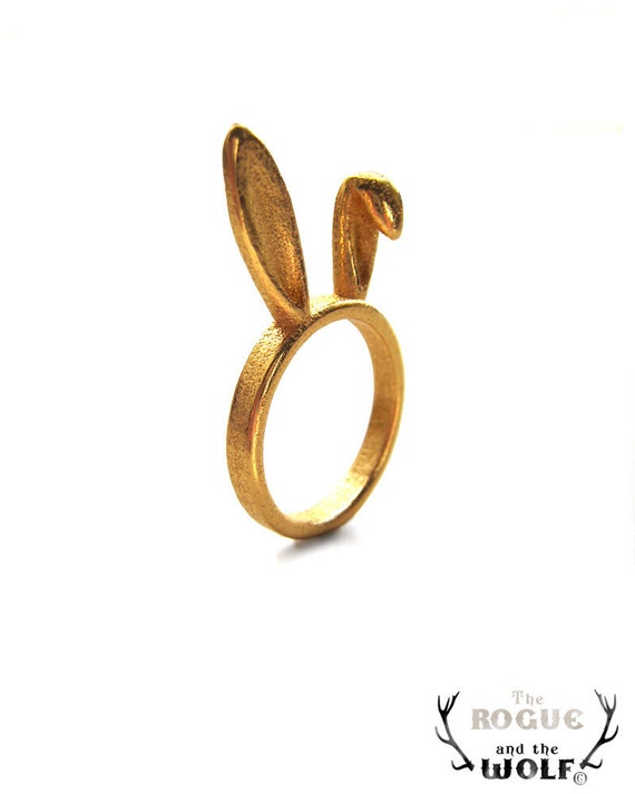 Gold Bunny Ears Ring, bunny ring, animal ring, cute ring, Kawaii ring, rabbit ears, hare, ears ring, animal jewellery, whimsical jewelry