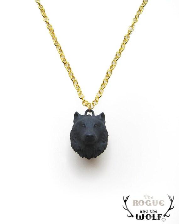 Wolf Necklace Wolf Head Necklace Modern Animal By Hidenseek