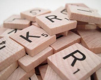 100 Wooden Scrabble Tiles - Full Set - Board Game Pieces - alphabet tiles - scrabble pieces