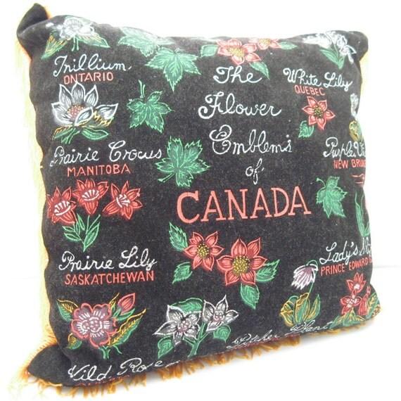 Vintage Pillow - Souvenir Pillow - Flower Emblems of Canada - Black Velvet