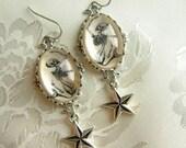 Feejee Mermaid - Skeleton Earrings with Nautical Star - Freak Show - Carnival - Gothic Earrings - Mermaid earrings - Gift for her - Kitch