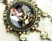 Le Boudoir - Hyperfeminine Pendant Necklace in Pearl, Pink, and Opal Sea Green. Comes with Free Earrings.