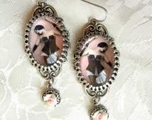 BDSM Earrings - Dominatrix Earrings - Femdom - Vintage Image - Romantic BDSM - Submissive Jewelry - Domina Jewelry - BDSM Earrings - Pink