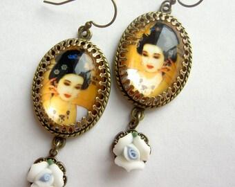 Geisha Earrings , Japanese Earrings,  Floral Earrings, White Porcelain Rose Drops
