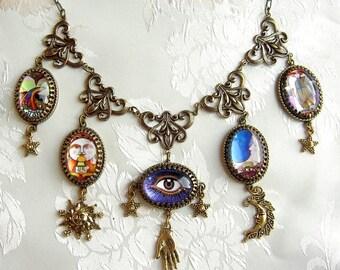 Carnivale Mystickal - Tarot Necklace - Celestial Necklace - Divination Necklace - Gypsy Necklace - Boho Necklace - Festival Necklace