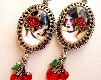 Cherry Bomb - Old School Tattoo Flash Earrings