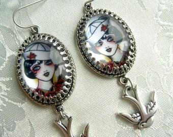Tattoo Sailor Girl Earrings - Vintage Tattoo Flash - Swallow Charm - Rockabilly Earrings - Rockabilly Jewelry - Tattoo Jewelry - Earrings