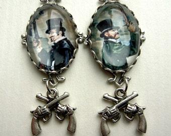 Famous Duel earrings, Dueling ghost earrings, Mansion Earrings, Haunted Earrings