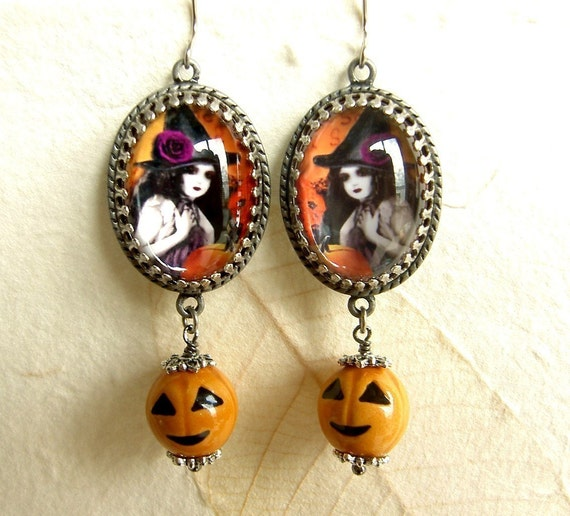 Witchypoo - Witchy Halloween Earrings with Jack o lantern OR Bat Charm Drops