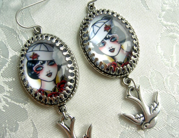 Tattoo Sailor Girl Earrings - Vintage Flash with Swallow Charm