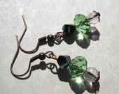 Green ice crystal and copper earrings