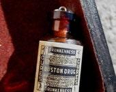 Victorian Boston Drug miniature glass bottle pendant charm