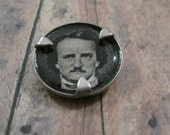 Recycled steel and resin Edgar Allan Poe charm