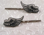 Vintage wings illustration silver finish barrette hair pin pair