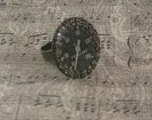 OCTOBER SALE! Aged brass bezel and resin vintage black pressure gauge adjustable ring