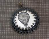 Victorian hot air balloon illustration filigree aged brass and resin pendant - MoiraCoon