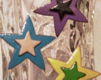 Copper Enameled magnets set of 3 / Stars