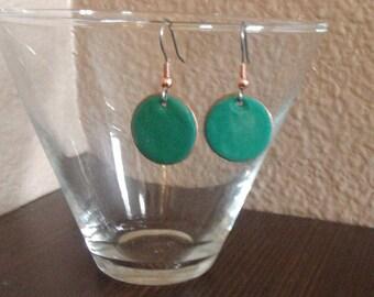 Earrings Copper enameled earrings round drop / spurce green