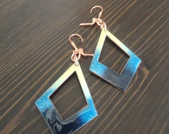 Copper Enameled earrings / yellow blue and bluish black