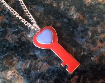 Copper Enamel skeleton key necklace / heart key / purple red