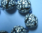 Black Lace Blue Polymer Clay Loose Beads