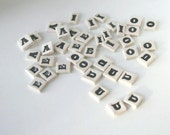 "Ceramic Mosaic Tile Set of 5 Small Letters Porcelain ""Witty"" font Made to Order"