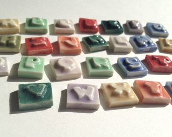 """Mosaic Tile Porcelain Ceramic Letters """"Chunky"""" font Made To Order"""