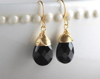 Black Quartz and Gold Earrings, Black Gold Earrings, Gold Black Earrings, Gold Wire Wrapped Earrings, Bridal Jewelry, Dangle Earrings