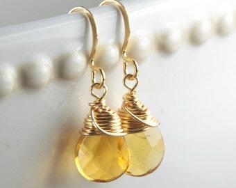 Topaz Quartz and Gold Earrings,  Topaz Gold Earrings, Gold Topaz Earrings, Gold Wire Wrapped Earrings, Bridal Jewelry, Dangle Earrings