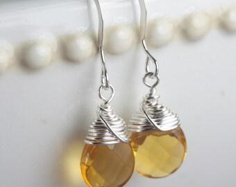 Sterling Silver Wire Wrapped Earrings, Topaz Quartz  and Sterling Silver Earrings, #584