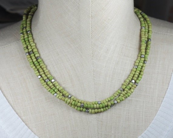 Multi Strand Green Seed Bead and Silver Necklace