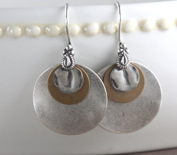 Antique Silver and Brass Earrings