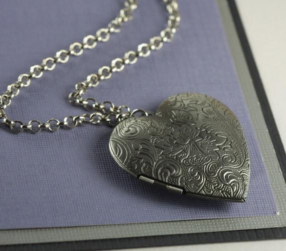 Long Antique Silver Heart Locket Necklace