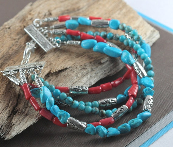 Multi Strand  Turquoise, Coral and Silver Bracelet