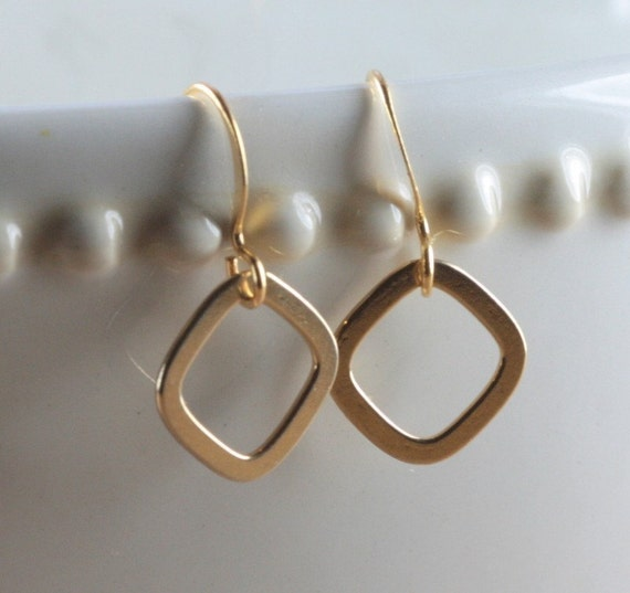 Gold Square Link Earrings
